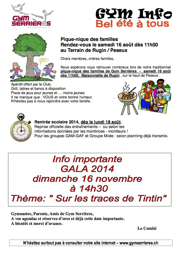 GYM Info - Rugin 2014 picnic